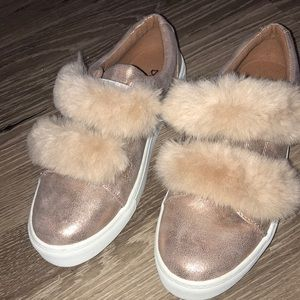 Trendy rose gold fluffy sneakers